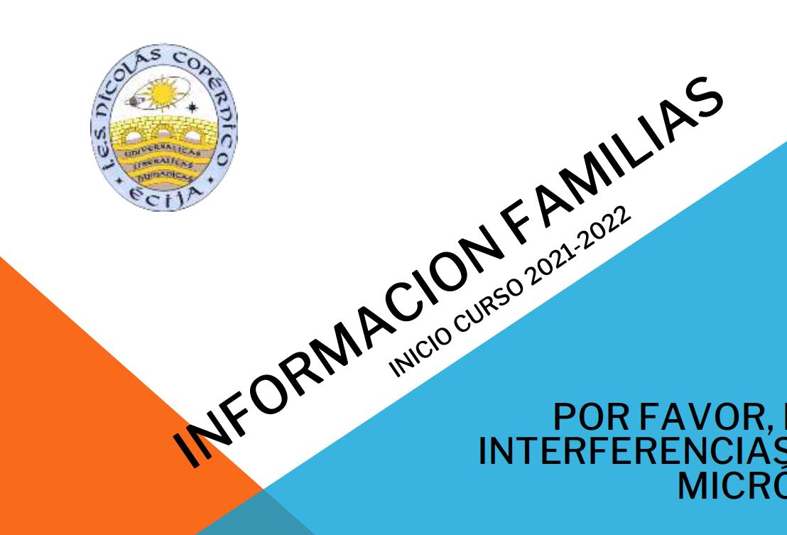 Información familias, inicio curso 2021-2022